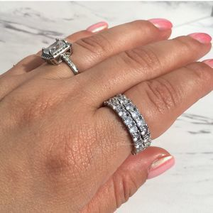 Silver Cubic Zirconia Eternity Ring Sz 7